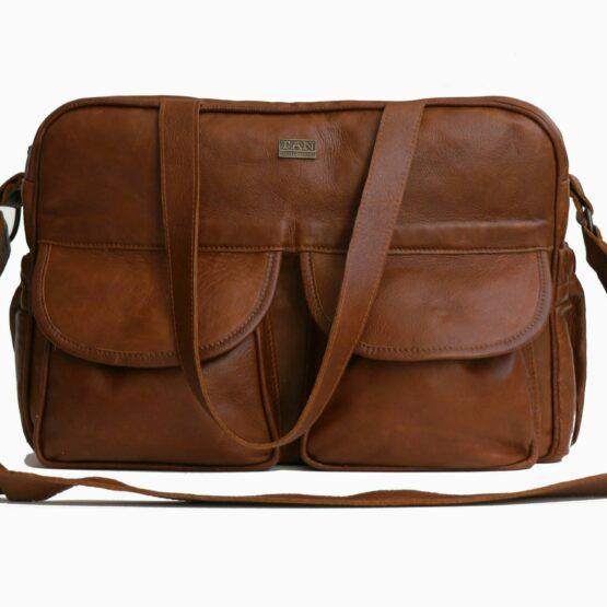 joanie leather nappy bag